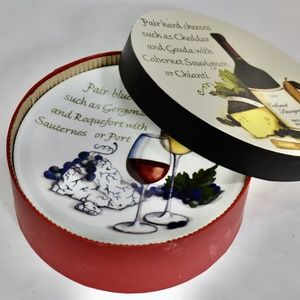 Wine Enthusiast Round Cheese Appetizer  Plates 4
